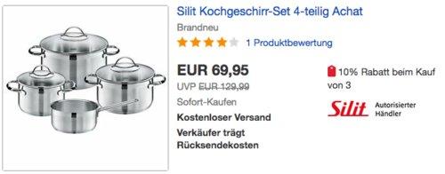 """Silit Topfset """"Achat"""", 4-teilig - jetzt 10% billiger"""
