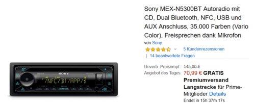 Sony MEX-N5300BT Autoradio (CD, Dual Bluetooth, NFC, USB, AUX, Vario Color) - jetzt 27% billiger