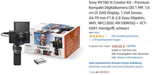 Sony RX100 III Creator Kit, Digitalkamera + Vlogger-Griff - jetzt 17% billiger