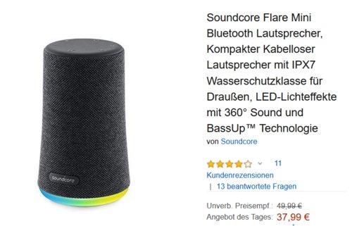 Soundcore Flare Mini Bluetooth Lautsprecher mit LED-Lichteffekten, 360° Sound - jetzt 24% billiger