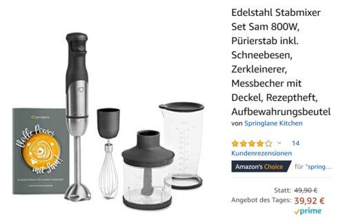 """Springlane Kitchen Stabmixer-Set """"Sam"""", 800W - jetzt 20% billiger"""