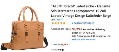 """TALENT """"Brech""""' Ledertasche, 15 Zoll Laptop Vintage Schultertasche - jetzt 33% billiger"""