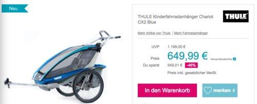 THULE Kinderfahrradanhänger Chariot CX2 Blue, 1 oder 2 Kinder - jetzt 13% billiger