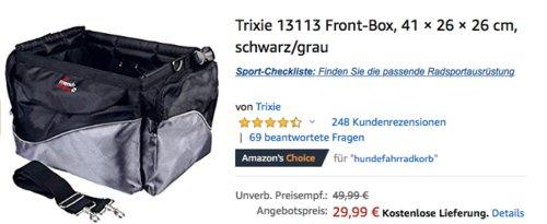 Trixie 13113 Hunde Front-Fahrradbox, 41 × 26 × 26 cm - jetzt 18% billiger