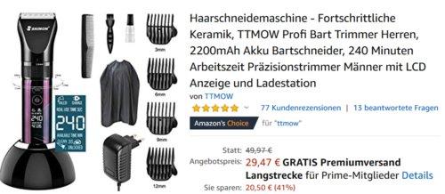 TTMOW Profi Akku-Haarschneidemaschine, Keramikklinge - jetzt 41% billiger