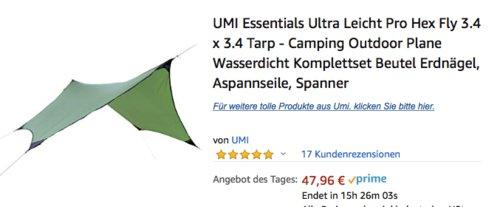 UMI Essentials Ultra Leicht Pro Hex Fly 3.4 x 3.4m Tarp, Camping Outdoor Plane - jetzt 20% billiger