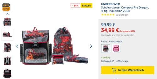 "UNDERCOVER Schulranzenset Compact ""Fire Dragon"" oder ""Horse Club"" - jetzt 22% billiger"