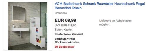 """VCM Badschrank/Raumteiler """"Tasalo"""", 130 x 25 x 50 cm - jetzt 29% billiger"""