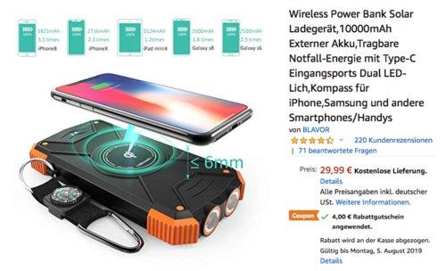 Wireless Power Bank Solar Ladegerät 10000mAh, orange - jetzt 13% billiger