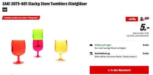 ZAK! 2073-601 Stacky Stem Tumblers Stielgläser, 4er Set - jetzt 44% billiger