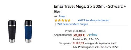 2 x 500ml Emsa Travel Mugs Thermobecher-Set, versch. Farben - jetzt 24% billiger