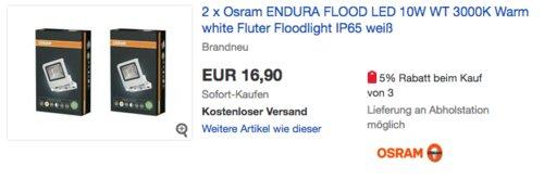 2x Osram LED Endura Flood Fluter Weiß (10W, 700 Lumen, 3000K Warm) - jetzt 11% billiger