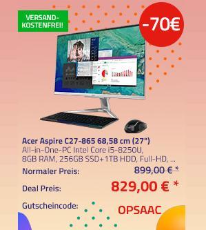 "Acer Aspire C27-865 68,58 cm (27"") All-in-One-PC (i5-8250U, 8GB RAM, 256GB SSD+1TB HDD, Linux Endless OS) - jetzt 8% billiger"