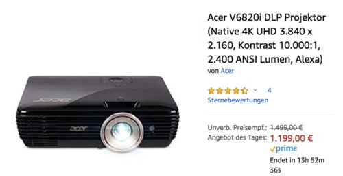 Acer V6820i DLP Projektor (Native 4K UHD 3.840 x 2.160, Kontrast 10.000:1, 2.400 ANSI Lumen) - jetzt 13% billiger