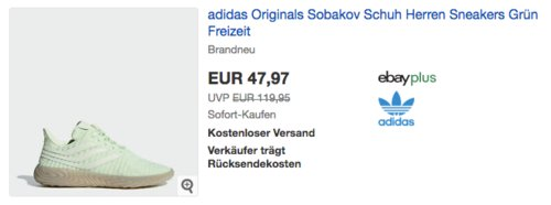 adidas Originals Sobakov Herren Sneakers (36,5-48), grün - jetzt 29% billiger