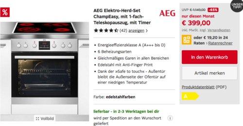 AEG Elektro-Herd-Set ChampEasy (Herd EES33101ZM , Kochfeld HE604062XB, Zubehör TR1LV) - jetzt 19% billiger