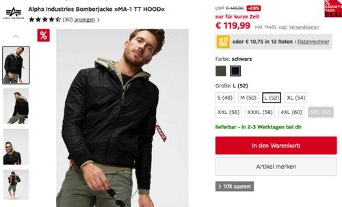 "Alpha Industries Herren Bomberjacke ""MA-1 TT HOOD"", olivgrün oder schwarz - jetzt 10% billiger"