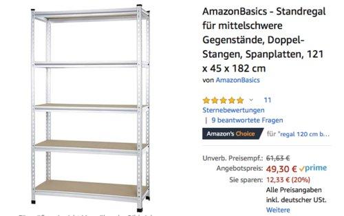 AmazonBasics - Standregal für mittelschwere Gegenstände, 121 x 45 x 182 cm - jetzt 14% billiger
