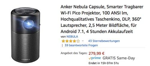 "Anker ""Nebula Capsule"" Wi-Fi Pico Projektor, 100 ANSI-Lumen - jetzt 20% billiger"