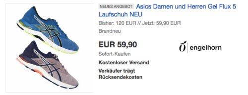 Asics Damen und Herren Gel Flux 5 Laufschuh, lila oder blau - jetzt 12% billiger