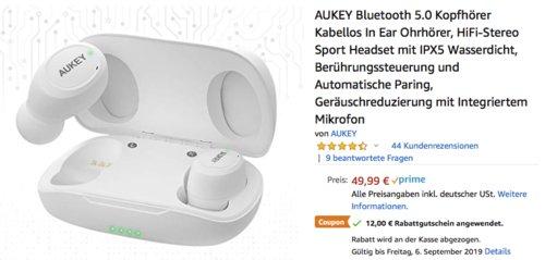 AUKEY Bluetooth 5.0 In Ear Kopfhörer, weiß (DEA-EP-T16S-W) - jetzt 24% billiger