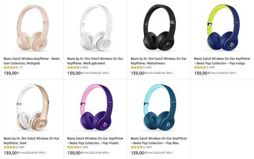 Beats Solo3 Wireless On-Ear Kopfhörer, versch. Farben - jetzt 5% billiger