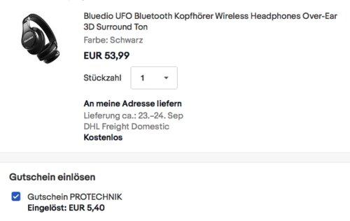 Bluedio UFO Bluetooth Kopfhörer mit 3D Sound Effekt, schwarz - jetzt 10% billiger
