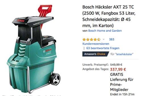 Bosch Häcksler AXT 25 TC  (2500 W, max. Ø 45 mm) - jetzt 12% billiger