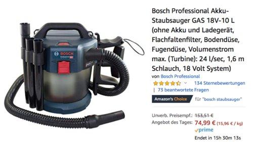 Bosch Professional Akku-Staubsauger GAS 18V-10 L (ohne Akku und Ladegerät) - jetzt 32% billiger