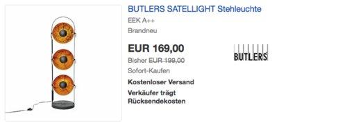 BUTLERS SATELLIGHT Stehleuchte aus Metall, 128 cm hoch - jetzt 15% billiger