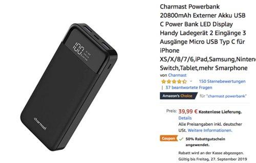 Charmast W2016 Powerbank 20800mAh (1x USB-C, 2x USB, 1x Micro USB) - jetzt 50% billiger