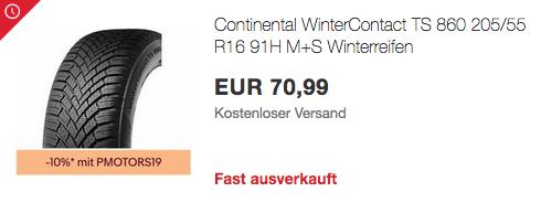 Continental WinterContact TS 860 205/55 R16 91H M+S Winterreifen - jetzt 10% billiger
