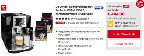 "De´Longhi Kaffeevollautomat ""Perfecta ESAM 5550"" in Schwarz inkl. 2 Pakete KIMBO Kaffeebohnen - jetzt 19% billiger"