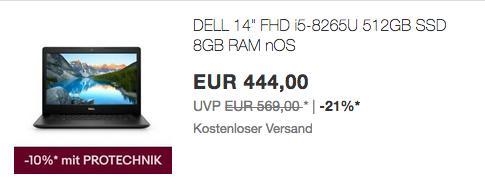 DELL Inspiron 14 3480 Notebook (i5-8265U, 8GB/512GB SSD, ohne Windows) - jetzt 10% billiger