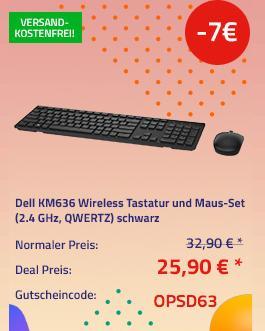 Dell KM636 Wireless Tastatur und Maus-Set (2.4 GHz, QWERTZ), schwarz - jetzt 21% billiger