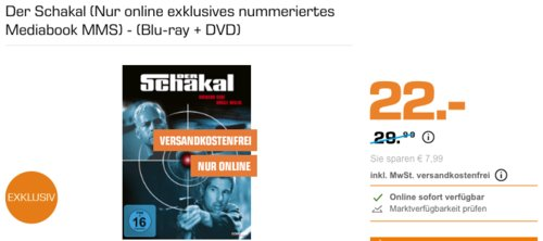 Der Schakal (Nur online exklusives nummeriertes Mediabook MMS) - (Blu-ray + DVD) - jetzt 27% billiger
