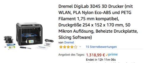 Dremel DigiLab 3D45 3D-Drucker, Druckgröße 254 x 152 x 170 mm - jetzt 4% billiger