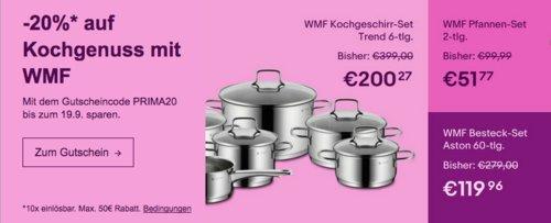 Ebay - 20% Rabatt auf ausgewählte Artikel von WMF: z.B. WMF Nudeltopf mit Glasdeckel, 7 Liter - jetzt 20% billiger