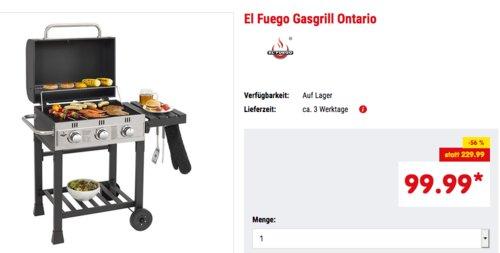 """El Fuego Gasgrill """"Ontario"""", 7,05 kW (3 Hauptbrenner je 2,35 kW) - jetzt 31% billiger"""