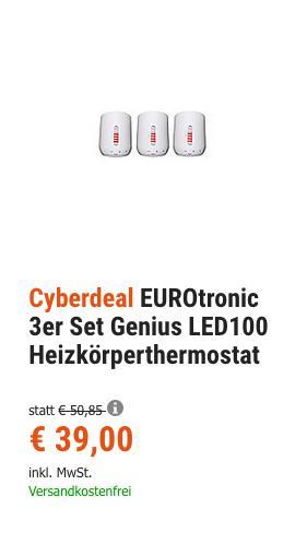 EUROtronic 3er Set Genius LED100 Funk-Heizkörperthermostat, per App steuerbar - jetzt 23% billiger