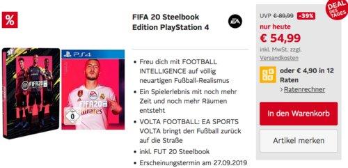 FIFA 20 Steelbook Edition für PlayStation 4 - jetzt 18% billiger