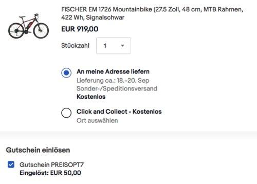 FISCHER EM 1726 E-Mountainbike (27.5 Zoll, 48 cm, MTB Rahmen, 422 Wh, Signalschwarz matt) - jetzt 5% billiger
