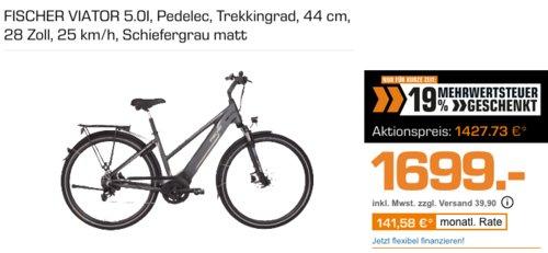 FISCHER VIATOR 5.0I Unisex - E-Bike (28 Zoll, 25 km/h, 44 cm) - jetzt 16% billiger