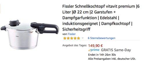 Fissler Schnellkochtopf Vitavit Premium, 6 Liter - jetzt 25% billiger