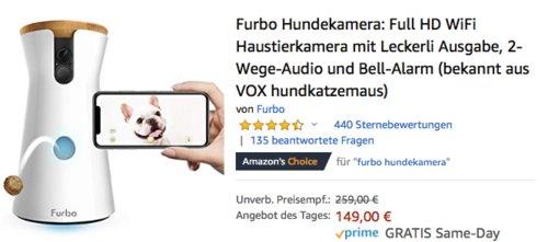 Furbo HD-WiFi-Hundekamera mit Leckerli-Ausgabe und 2-Wege-Audio - jetzt 20% billiger