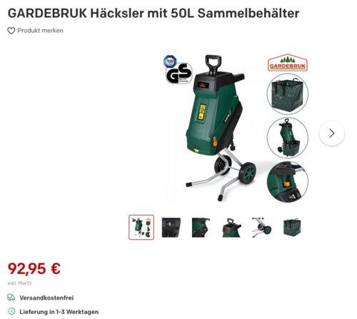 GARDEBRUK DBHC004 Häcksler mit 50L Sammelbehälter, 2400 W - jetzt 13% billiger