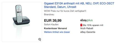 Gigaset E310A Schnurlostelefon mit Anrufbeantworter - jetzt 20% billiger
