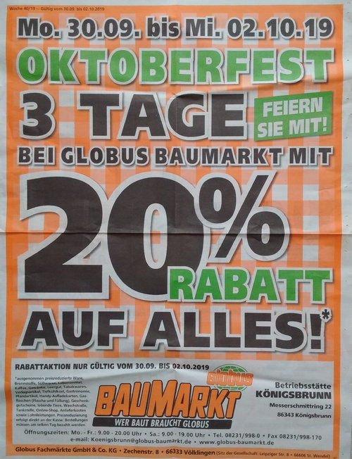 Globus Baumarkt Königsbrunn - Aktion: 20% Rabbat auf fast alles vom 30.9 bis 2.10.19 - jetzt 20% billiger