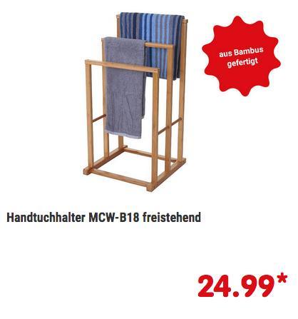 Handtuchhalter MCW-B18 aus Bambus, 82x42x42cm - jetzt 70% billiger