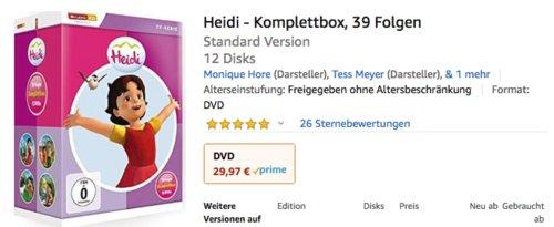 Heidi - Komplettbox 39 Folgen (12 DVDs) - jetzt 25% billiger
